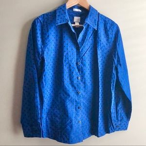 Chico's Blue and Black Button Down Shirt